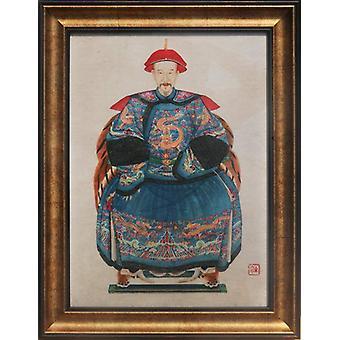 Grzywny Asianliving Chiński Ancestor Portret Malarstwo W36xH48cm Glicee Handmade