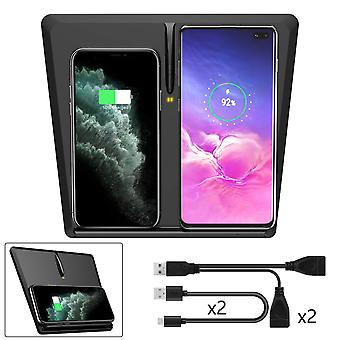 Srotek draadloze oplader voor Tesla Model 3 Qi draadloze telefoon oplader pad voor Qi cellphone 3-coil horizontaal / verticaal dual, zwart