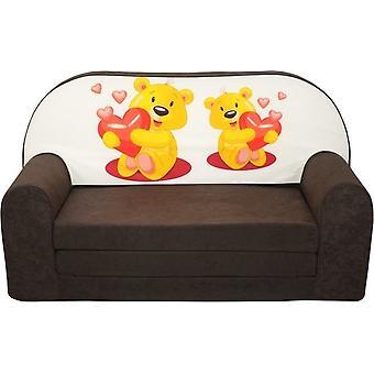 Kinder slaapbank - sofa - bruin - logeermatras - 85 x 60 - beertjes