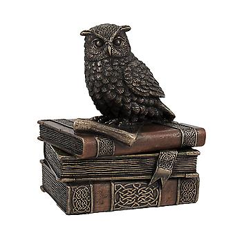Bronzed Finish Wise Old Owl Trinket Box