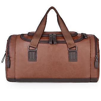 ブラウン Pu メンズ トラベル バッグ 大容量ハンドバッグ ショルダー バッグ クロスボディ