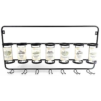 85CM 7 WINE BOTTLE AND GLASS HOLDER WALL HANGING METAL BLACK RACK
