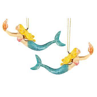 Kust Blonde zwemmen Mermaid 6 Inch Kerst vakantie ornamenten Set van 2
