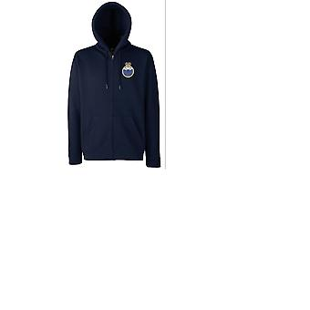HMS X Craft Embroidered Logo - Official Royal Navy Zipped Hoodie Jacket