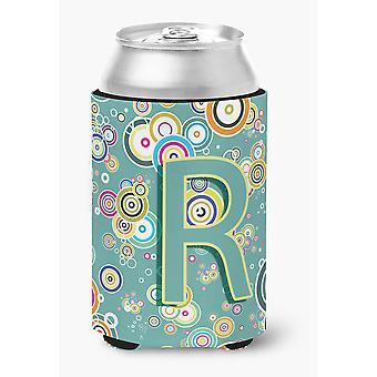 Letra R círculo círculo azul-petróleo alfabeto inicial lata ou garrafa Hugger