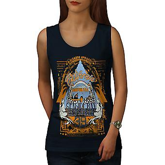 Seaside Beach California Women NavyTank Top | Wellcoda