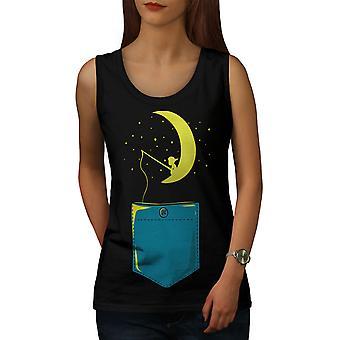 Moon Star Fishing Fashion Women BlackTank Top | Wellcoda