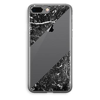 iPhone 8 Plus Transparant Case (Soft) - zwart marmer