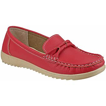 Amblers Ladies Paros Slip On mocassino stile Smart Casual scarpa rosso