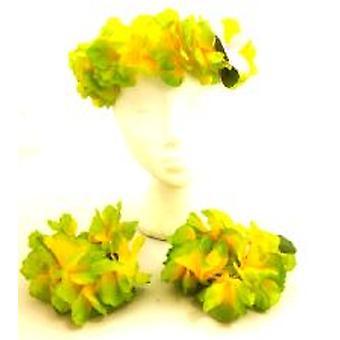 Ensemble supérieur fleur hawaïenne - vert