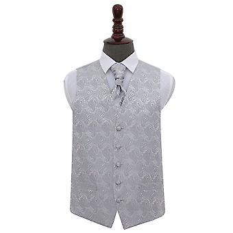 Sølv Paisley bryllup vest & Cravat sett