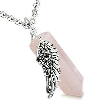 Aile d'ange amulette Magic Point Rose Quartz en cristal Collier pendentif énergie spirituelle de guérison