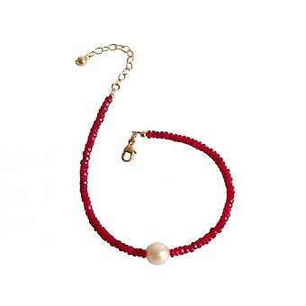 Ruby & perle armbånd Guld belagte elegante Ruby perler armbånd