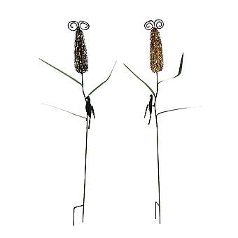 Colorful Metal Corn Cob Stalks Garden Stake Set of 2