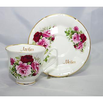English Bone China Teacup & Saucer for Mum
