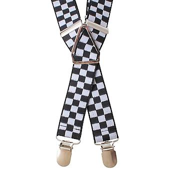 Knightsbridge Neckwear vérifie Clip bretelles - noir/blanc
