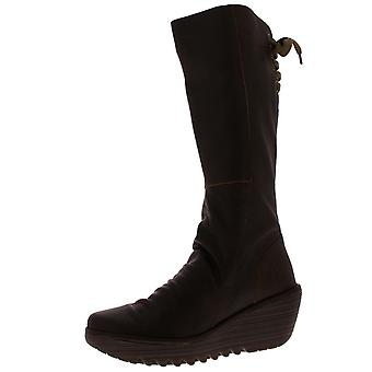 Womens Fly London Yust cuir hiver mode talon compensé bottes Knee High