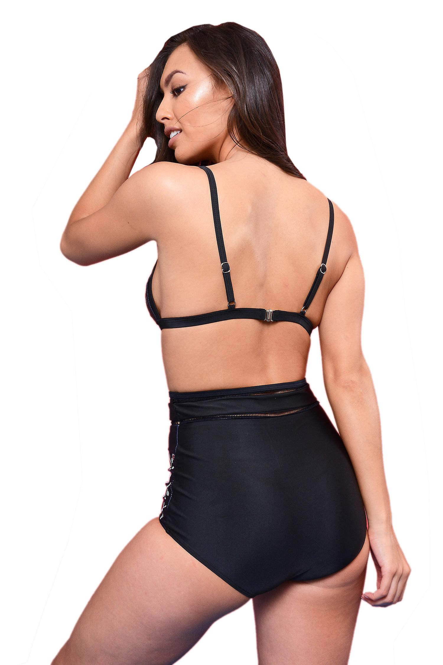 LMS Black High Waisted Bikini Set With Mesh And Floral Detail