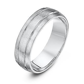 Star Wedding Rings Palladium 950 Light Court Matt With Two Polished Grooves 6mm Wedding Ring