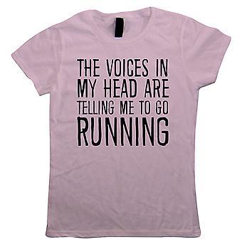 Stimmen in meinem Kopf laufen, Womens lustige T Shirt - Geschenk Sie