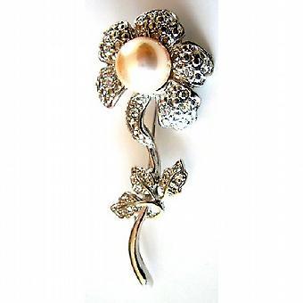 太阳花胸针象牙珍珠银镀干迪亚曼泰叶礼物