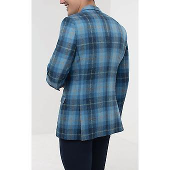 Scottish Harris Tweed Mens Blue Check Tweed Jacket Regular Fit 100% Wool Notch Lapel