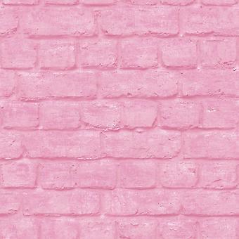 Efecto ladrillo 3D Wallpaper metálico Industrial textura relieve urbano rosa