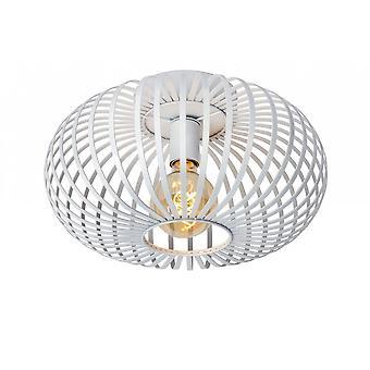Lucide Manuela Vintage ronde metalen witte Flush plafondlamp