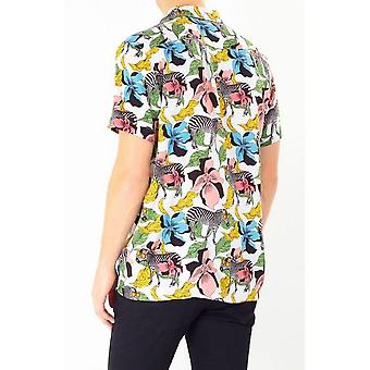 Brave Soul Mens Psychedelic Zebra Print Short Sleeve Shirt