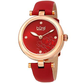 Burgi Women's Diamond Accented Flower Dial Watch - Comfortable Leather Strap BUR197RD