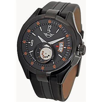 MINI Bubble Lens Subdial Quartz Black Leather Strap Mens Watch 161004 38mm