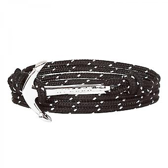 Holler Mosley  Silver Polished Anchor / Black and White Paracord Bracelet HLB-02SRP-P15