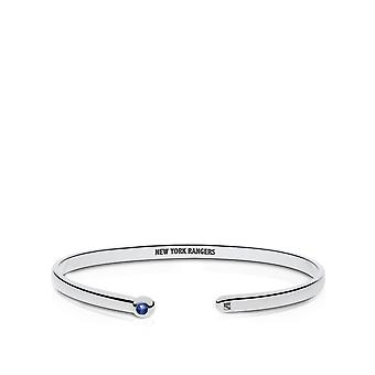 New York Rangers Engraved Sterling Silver Sapphire Cuff Bracelet