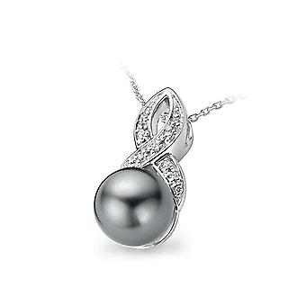 PENDANT WITH CHAIN 925 SILVER GREY PEARL AND ZIRCONIUM