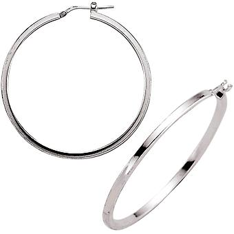 Jewelco London Ladies Rhodium Plated Sterling Silver # Round Tube Polished Hoop Earrings 45mm