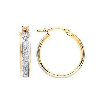 Jewelco London Ladies Gold-Plated Silver Moondust Hoop Boucles d'oreilles 18mm