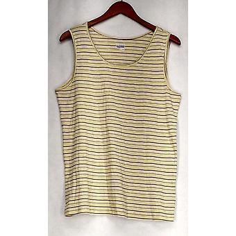 Basic Editions XXL Striped Sleeveless Knit Top Yellow Womens