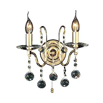Diyas Bianco Wandleuchte switched 2 Light French Gold/Crystal