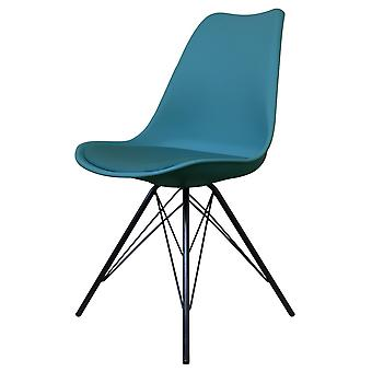 Fusion Living Eiffel Inspired Petrol Blue Plastic Dining Chair With Black Metal Legs