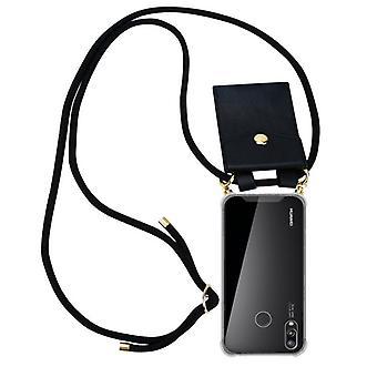 Cadorabo telefon kæde sag for Huawei P20 LITE sagdækning - silikone halskæde kappe dækning med guld ringe - ledning stil snor og aftageligsag beskyttende dækning
