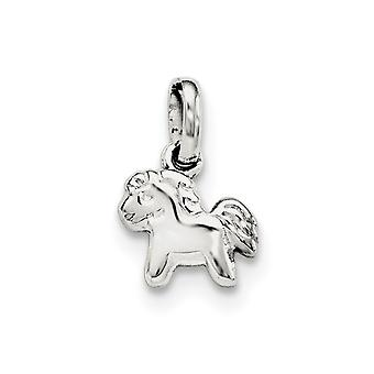925 Sterling Silver Rh Plated for boys or girls Polished Pony Pendant Necklace - .7 Grams