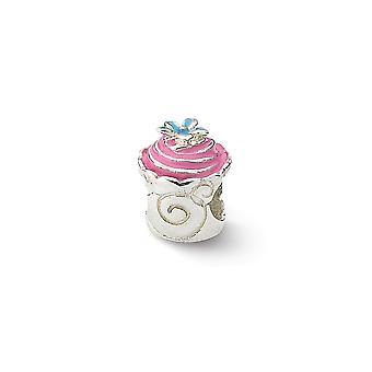 925 Sterling Silber poliert Finish Reflexionen rosa emaillierten Cupcake Perle Anhänger Anhänger Halskette Schmuck Geschenke für Wome
