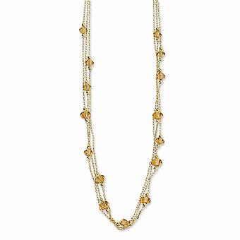 Gold tone Fancy Lobster Closure Light Colorado Crystal 16inch With Ext Necklace Jewelry Gifts for Women