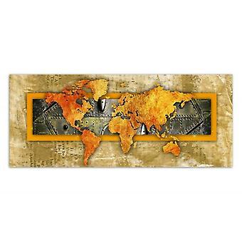 Painel de Deco, mapa de mundo alaranjado-jornal
