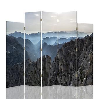 Dekorativa rumsavdelare, 5 paneler, dubbelsidig, canvas, Panorama berg 3
