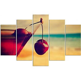 Cinco partes de imagen en lienzo, Pentaptych, tipo A, beber cereza