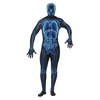 Mens X ray második bőr suit Halloween jelmezes jelmez