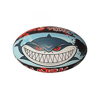 Optimum Sport Hand Stitched Rubber Shark Attack Rugby Ball - Mini