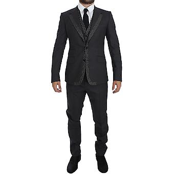 Gray Striped 2 Button 3 Piece Slim Suit Tuxedo