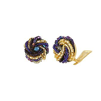 Eternal Collection Opulenza Blue And Gold Venetian Murano Glass Torsade Mini Stud Clip On Earrings